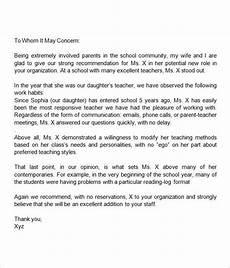 Parent Letter Of Recommendation Sample Letter Of Recommendation For Teacher 18