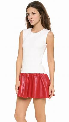 leather courtside mini dress in lyst
