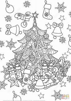 ausmalbilder erwachsene weihnachten tree zentangle coloring page free printable