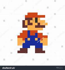 Pixelated Mario Characters Mario Pixel Printed On Poster Stock Vector 671891161