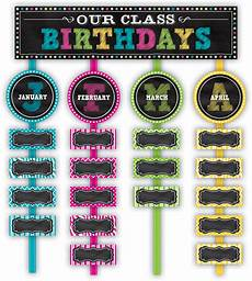 School Birthday Calendar Chalkboard Brights Our Class Birthdays Mini Bulletin Board