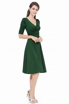 green v neck 3 4 sleeve high stretch casual