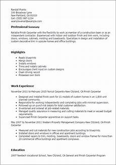 Carpentry Resume Sample Professional Finish Carpenter Templates To Showcase Your