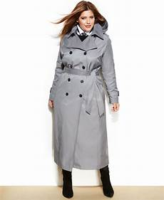 coats for plus size dkny plus size maxi trench coat in iron gray lyst