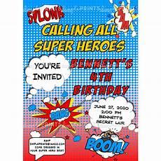 Printable Superhero Invitations Superhero Comic Printable Invitation Dimple Prints Shop