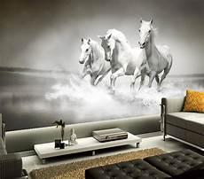 Horses Sofa 3d Image by Custom 3d Murals Three Running White Horses Papel De