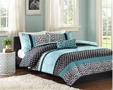 Bedroom Linens Comforter Bed Set Bedding Modern Teal Black Animal