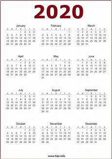 One Page Yearly Calendar 2020 Calendar 2020 Single Page Calendar Printables Free Templates