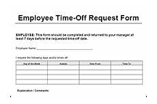 Employee Time Off Request Form Employee Time Off Request Form