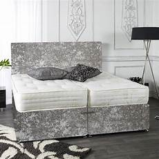 zip and link crushed velvet divan bed set ortho