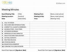 Board Meeting Templates Free Board Meeting Minutes Template Plain Format Dotxes