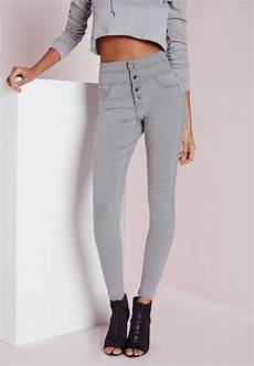 Light Grey High Waisted Missguided Sinner High Waisted Skinny Jeans Light Grey In