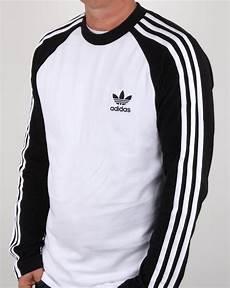 adidas originals sleeve 3 stripes t shirt white black