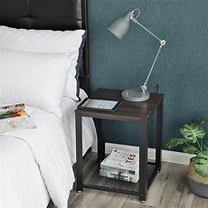 nightstand and end table with mesh shelf sturdy metal