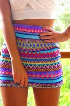 Aztec Design Skirts Skirt Colorful Blue Pink Purple Tight Pattern High