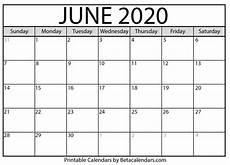 June 2020 Calendar Blank June 2020 Calendar Printable Beta Calendars