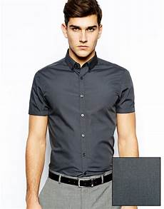 mens button shirts sleeve arm asos smart shirt in sleeve with button collar