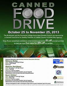Can Food Drive Flyer Canned Food Drive Peninsula College