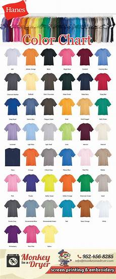 Hanes Chart Hanes Swatch Color Chart Monkey In A Dryer Screen Printing