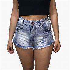shorts feminino shorts cintura alta destroyed feminino r 69