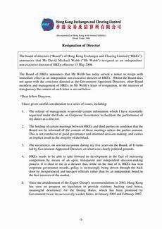 Board Resignation Letter Sample Hong Kong Board Of Directors Resignation Letter Sample