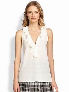 joie rissa silk sleeveless ruffled blouse in lyst
