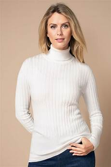 capture roll neck sleeve ribbed knit top