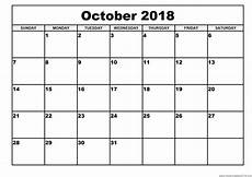 Free Monthly Printable Calendar October 2018 Calendar Printable 8 Free Word Pdf Web E