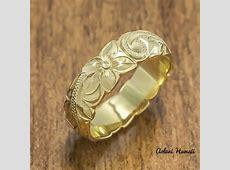 Gold wedding Ring Set of Traditional Hawaiian Hand