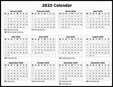 2020 Printable Year Calendar Yearly Calendar With Notes 2020 Pdf 2019 Calendars For