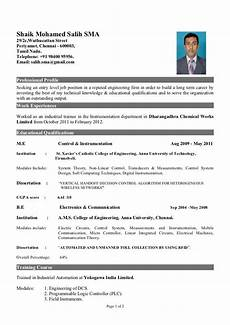 fresher of instrumentation engineer resume format for