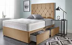 bed centre ziggy beige plush memory foam divan bed set