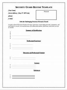 Security Guard Template Security Guard Resume Template Free Word Templates