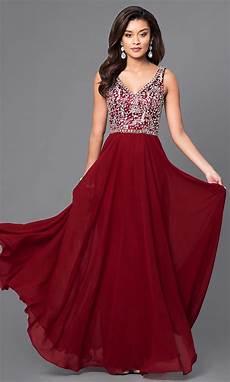 v neck chiffon prom dress with beaded bodice promgirl