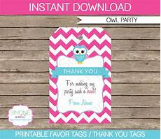 Party Favor Tag Owl Birthday Party Favor Tags Thank You Tags Pink