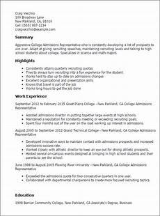 College Recruiter Resume Professional College Admissions Representative Templates
