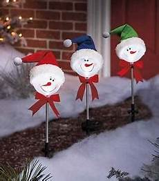 Diy Stakes For Christmas Lights Set Of 3 Snowman Solar Lighted Yard Stakes Outdoor