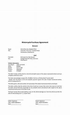 Bike Selling Agreement Format Bike Purchase Agreement