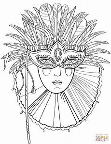 beautiful in carnival mask coloring page free
