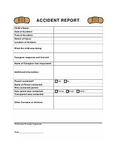 Childcare Incident Report Accident Report Form Templates Pdf Download Fill And