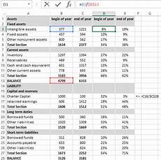 Financial Analysis Example Excel Percentage Format