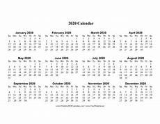 Large 2020 Calendars Printable 2020 Calendar One Page Large Horizontal