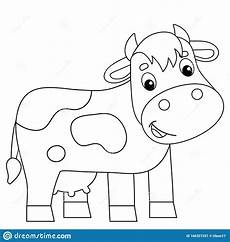 Farm Animal Outlines Coloring Page Outline Of Cartoon Cow Farm Animals