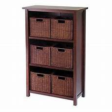 winsome milan 7pc cabinet shelf with baskets 6 small