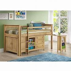 lifestyle high bed white with blue door and drawer