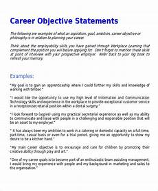 Career Objective For Customer Service Free 7 Sample Career Objective Statement Templates In Ms