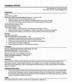 Church Resumes Pastor Resume Sample Resumes Misc Livecareer