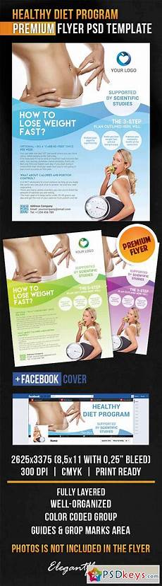 healthy diet program flyer psd template cover