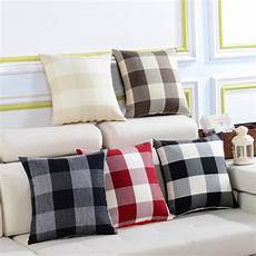 kcasa kc w08 simple plaid and striped cushion covers throw