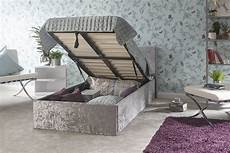 crushed velvet steel grey fabric ottoman bed with built in